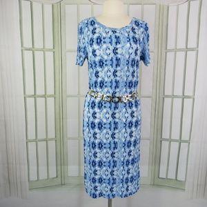 Allison Brittney size large midi shift dress blue